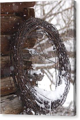 Snowy Barbed Wire Canvas Print by Jenessa Rahn