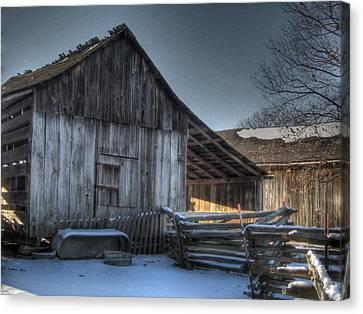 Snowy Barn Canvas Print by Jane Linders