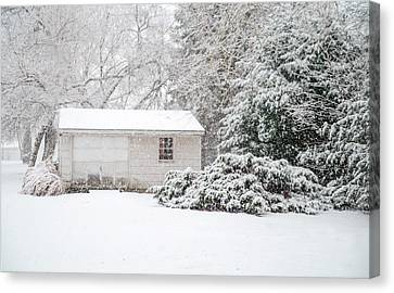 Snowy Barn Canvas Print by Mary Timman