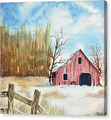 Canvas Print featuring the painting Snowy Barn by Rebecca Davis