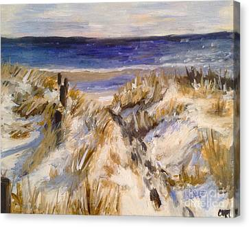 Snowy Beach Day Canvas Print by Catherine Maroney