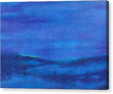 Canvas Print featuring the painting Snowy Blue Nocturne by Judith Cheng