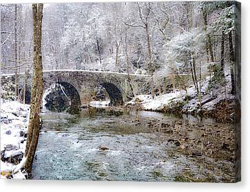 Snowy Bridge Along The Wissahickon Canvas Print by Bill Cannon
