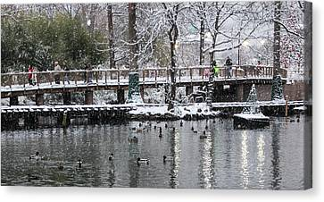 Snowy Bridge Canvas Print by Cathy Donohoue