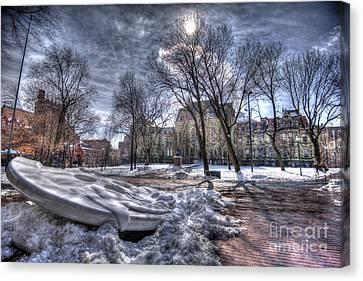 Snowy Button - Upenn Canvas Print by Mark Ayzenberg