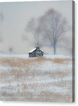 Snowy Cabin At Valley Forge Canvas Print by Bill Cannon