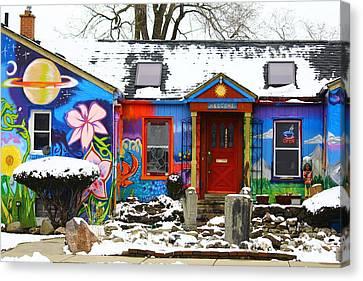 Snowy Cafe Canvas Print