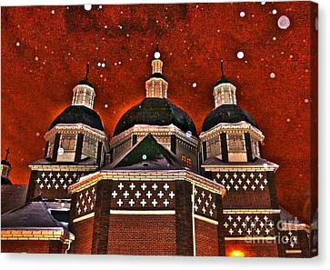 Canvas Print featuring the photograph Snowy Christmas Night by Sarah Mullin