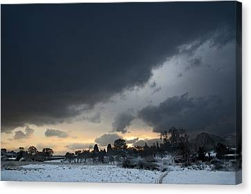 Snowy Dawn Canvas Print by David Davies