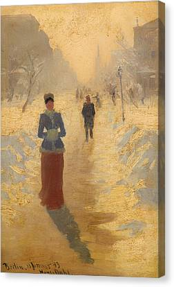 Snowy Day In Berlin Canvas Print
