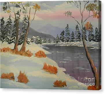 Snowy Day In Europe Canvas Print by Pamela  Meredith