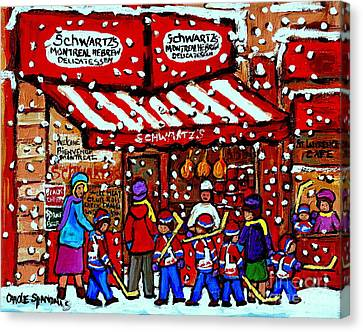 Snowy Day Montreal Paintings Schwarts Deli Smoked Meat After The Hockey Game Carole Spandau Art Canvas Print