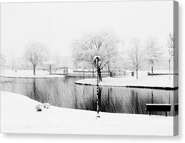 Snowy Day On Man Made Pond Canvas Print by Andy Lawless