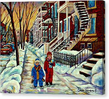 The Plateaus Canvas Print - Snowy Day Rue Fabre Le Plateau Montreal Art Winter City Scenes Paintings Carole Spandau by Carole Spandau