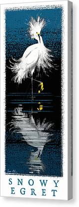 Canvas Print featuring the digital art Snowy Egret by Aaron Blaise