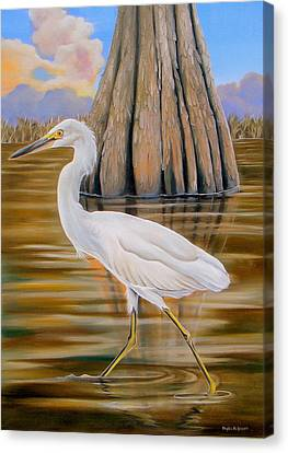 Canvas Print featuring the painting Snowy Egret And Cypress Tree by Phyllis Beiser