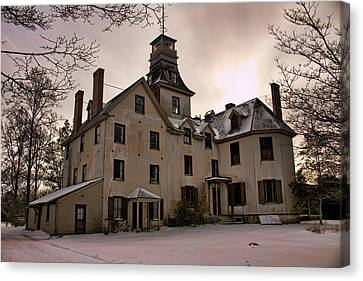 Snowy Evening At Batsto Mansion Canvas Print by Kristia Adams