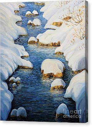 Snowy Fairytale River Canvas Print by Kiril Stanchev