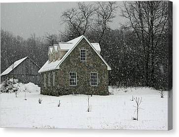 Canvas Print featuring the photograph Snowy Garage by Andy Lawless
