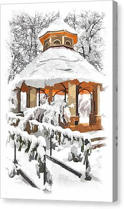 Snowy Gazebo - Greensboro North Carolina II Canvas Print by Dan Carmichael