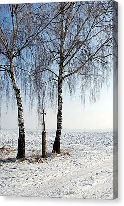 Wayside Cross Canvas Print - Snowy Landscape With Birches And Wayside Cross by Karin Stein