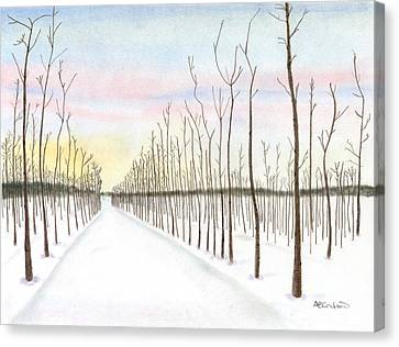 Snowy Lane Canvas Print by Arlene Crafton
