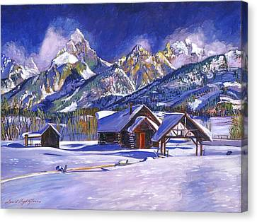 Snowy Log Cabin Canvas Print by David Lloyd Glover