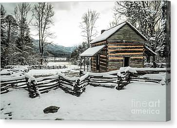Canvas Print featuring the photograph Snowy Log Cabin by Debbie Green