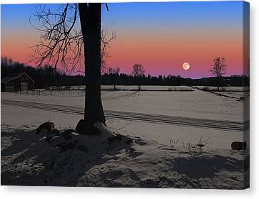Canvas Print featuring the photograph Snowy Moonrise by Larry Landolfi