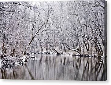 Snowy Morning On Wissahickon Creek Canvas Print by Bill Cannon