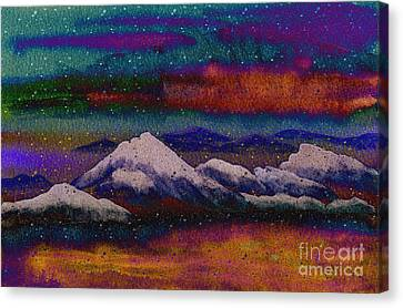 Snowy Mountains On A Colorful Winter Night Canvas Print by Beverly Claire Kaiya
