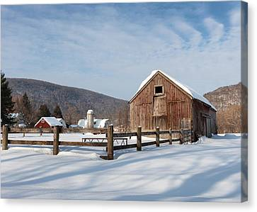 Snowy New England Barns Canvas Print by Bill Wakeley