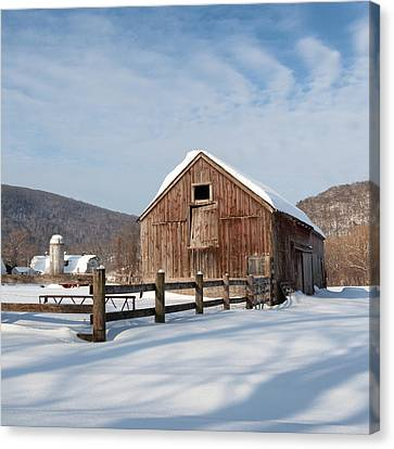 Snowy New England Barns Square Canvas Print by Bill Wakeley