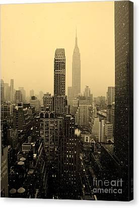 Snowy New York Skyline Canvas Print