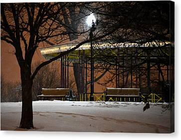 Canvas Print featuring the photograph Snowy Night In Leone Riverside Park by Bill Swartwout