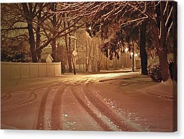 Snowy Night Canvas Print by Mikki Cucuzzo