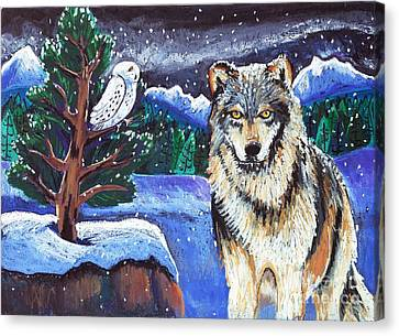 Snowy Night Wolf Canvas Print by Harriet Peck Taylor
