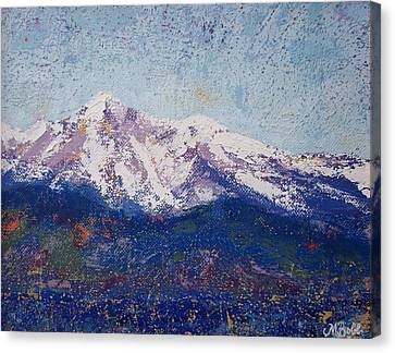 Canvas Print featuring the painting Snowy Peaks by Margaret Bobb