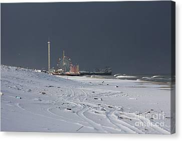 Snowy Piers Canvas Print by Laura Wroblewski