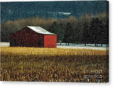 Red Barn In Winter Canvas Print - Snowy Red Barn In Winter by Lois Bryan