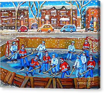 Snowy Rink Hockey Game Montreal Memories Winter Street Scene Painting Carole Spandau Canvas Print by Carole Spandau