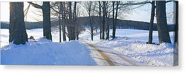 Snowy Road At Sunset, Near Woodstock Canvas Print by Panoramic Images
