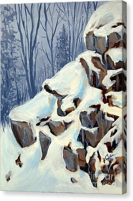 Canvas Print featuring the painting Snowy Rocks by Carol Hart