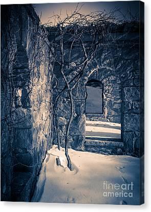 Creepy Canvas Print - Snowy Ruins At Night by Edward Fielding
