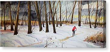 Scott Nelson Canvas Print - Snowy Single Track  by Scott Nelson