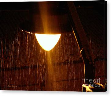 Canvas Print featuring the photograph Snowy Street Lamp by Ramona Matei