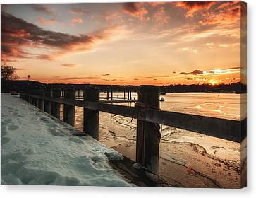 Snowy Sunset In Northport New York Canvas Print