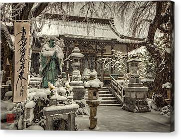 Snowy Temple Canvas Print by John Swartz