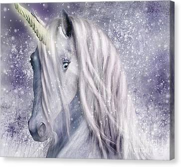 Snowy Unicorn Portrait Canvas Print by Elle Arden Walby