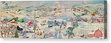 Snowy Village - Sold Canvas Print by Judith Espinoza